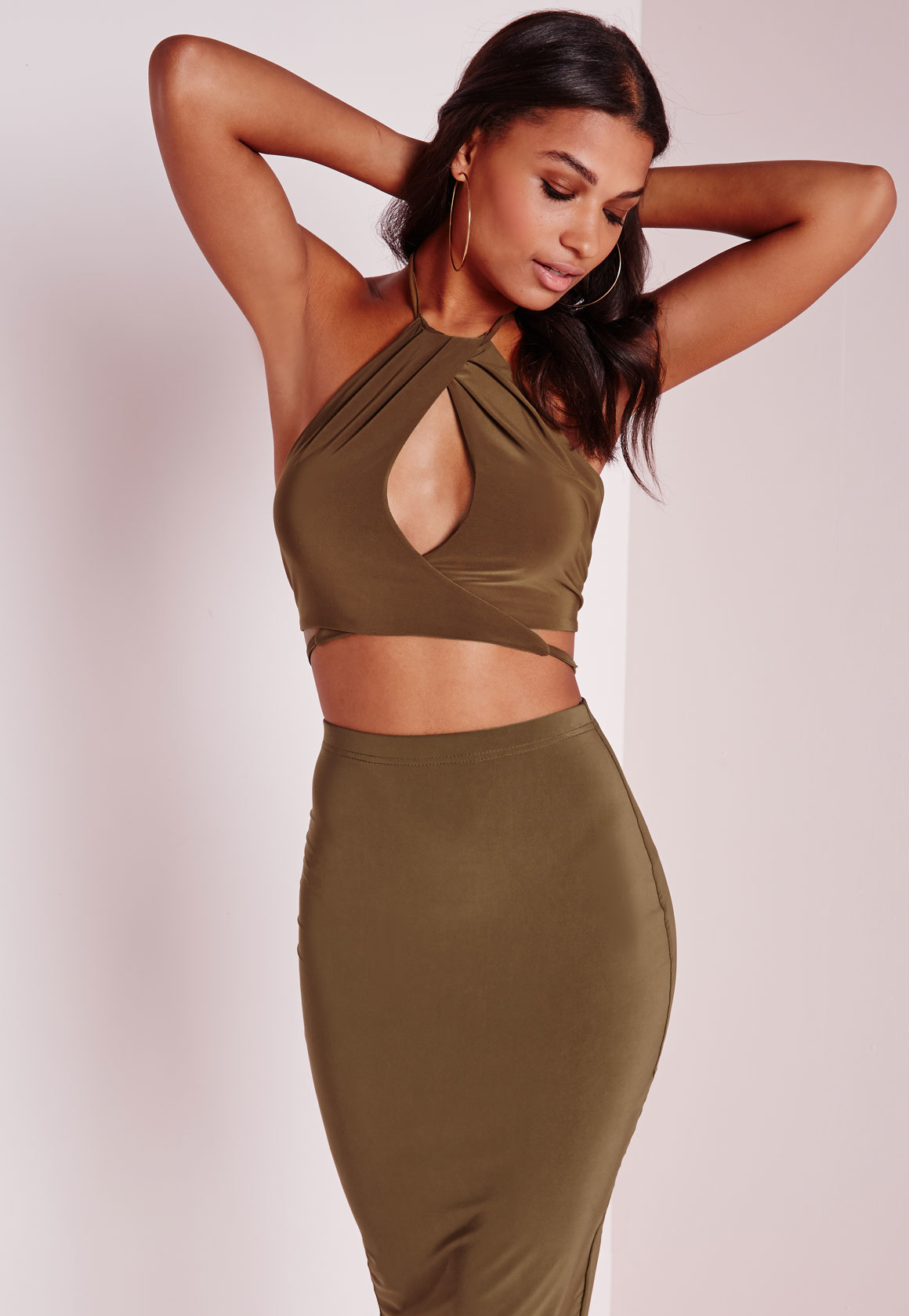 dd55702539aae3 Missguided Slinky High Neck Keyhole Wrap Front Crop Top Khaki in ...