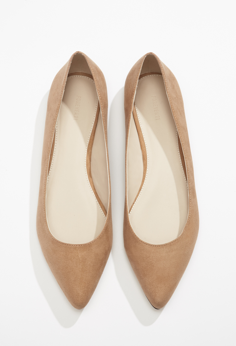 Lyst - Forever 21 Faux Suede Pointed Flats in Brown 0ea1379c73