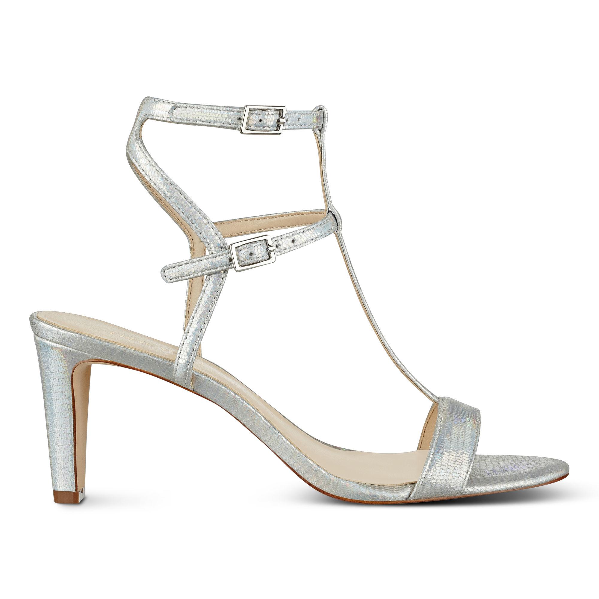 1b4967a23fd Lyst - Nine West Dacey T-strap Sandals in Metallic