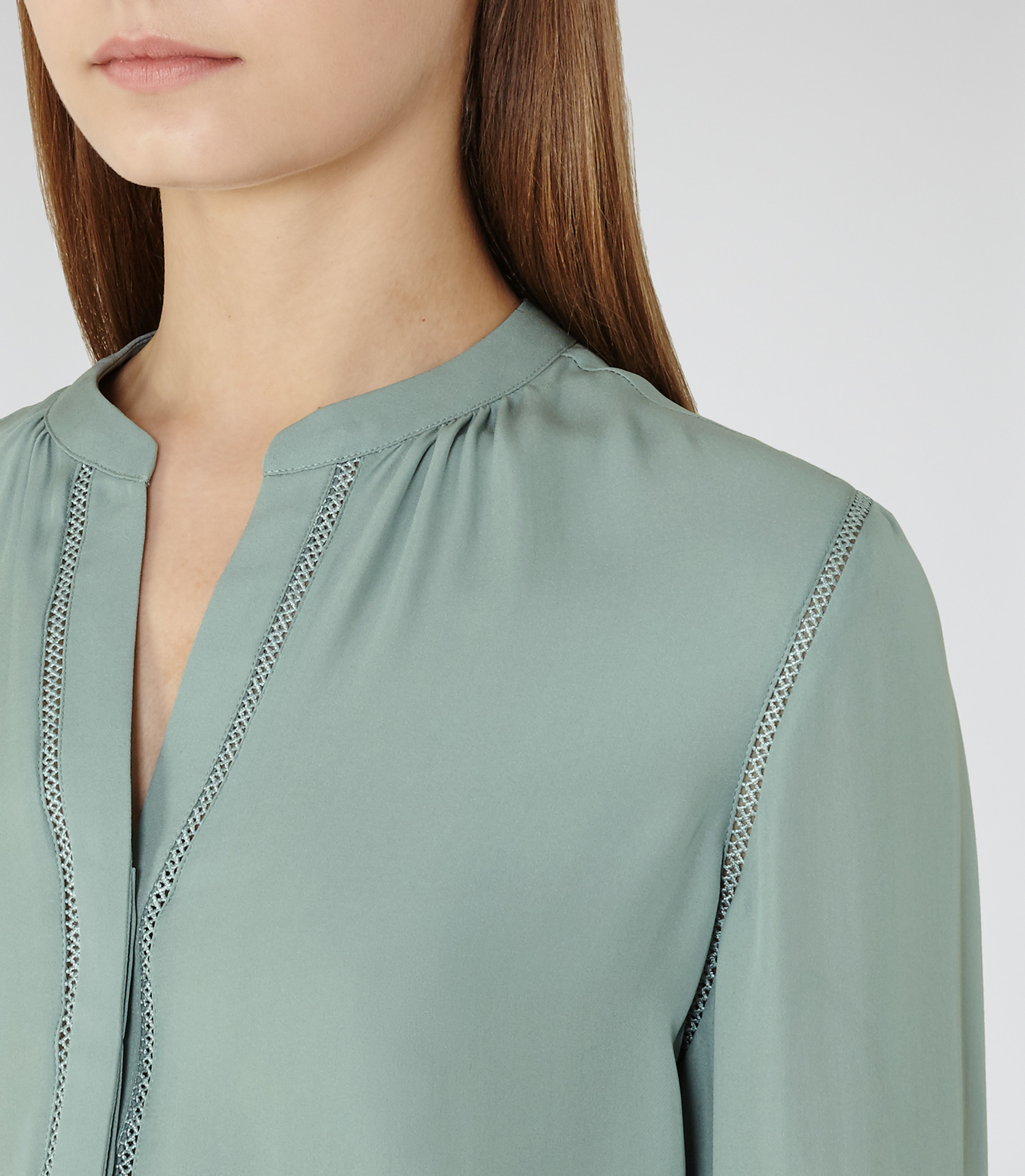3ee482b38db5c Lyst - Reiss Wilson Silk Blouse in Green