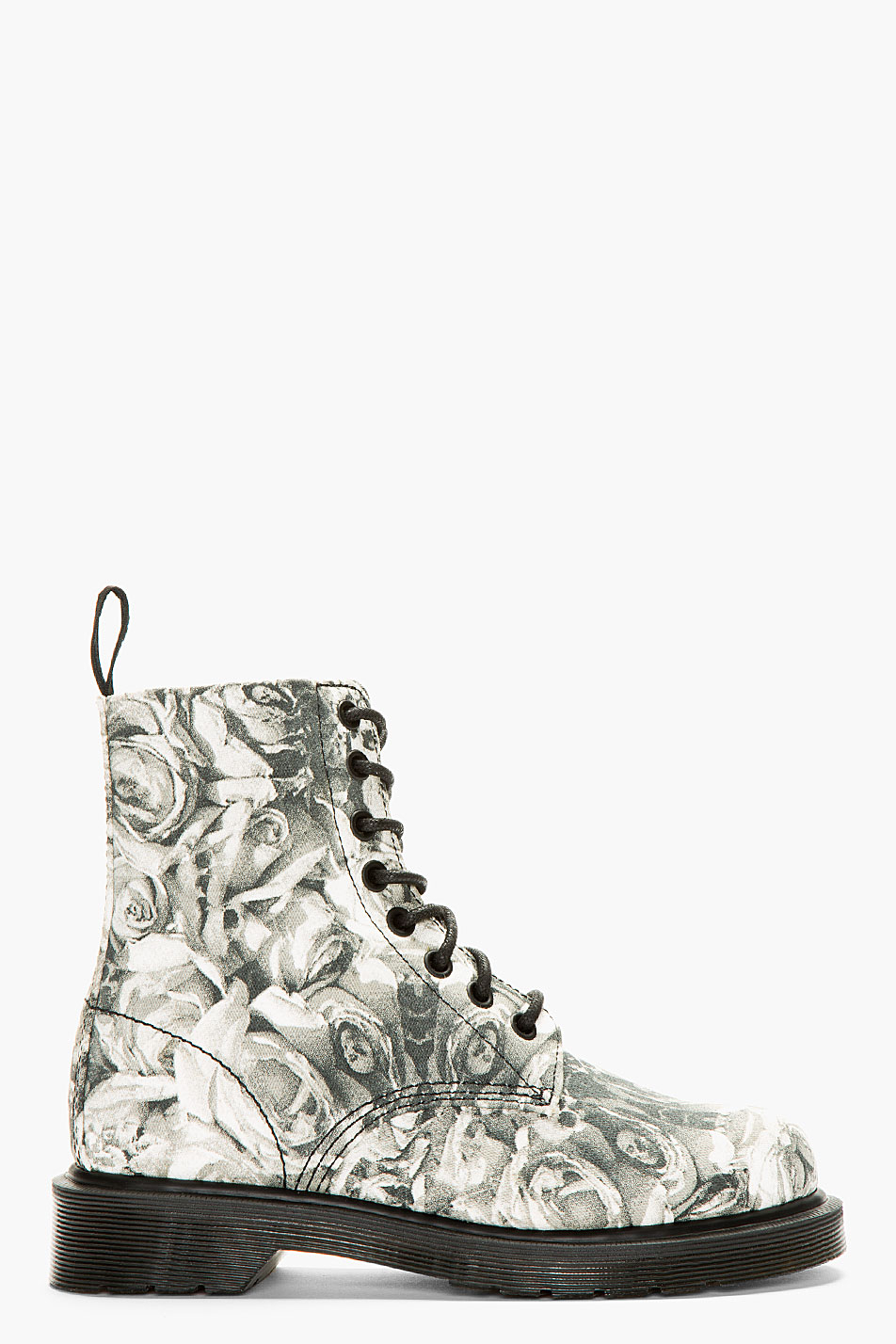 dr martens grey canvas skull and rose print becket 8 eye boots in gray lyst. Black Bedroom Furniture Sets. Home Design Ideas