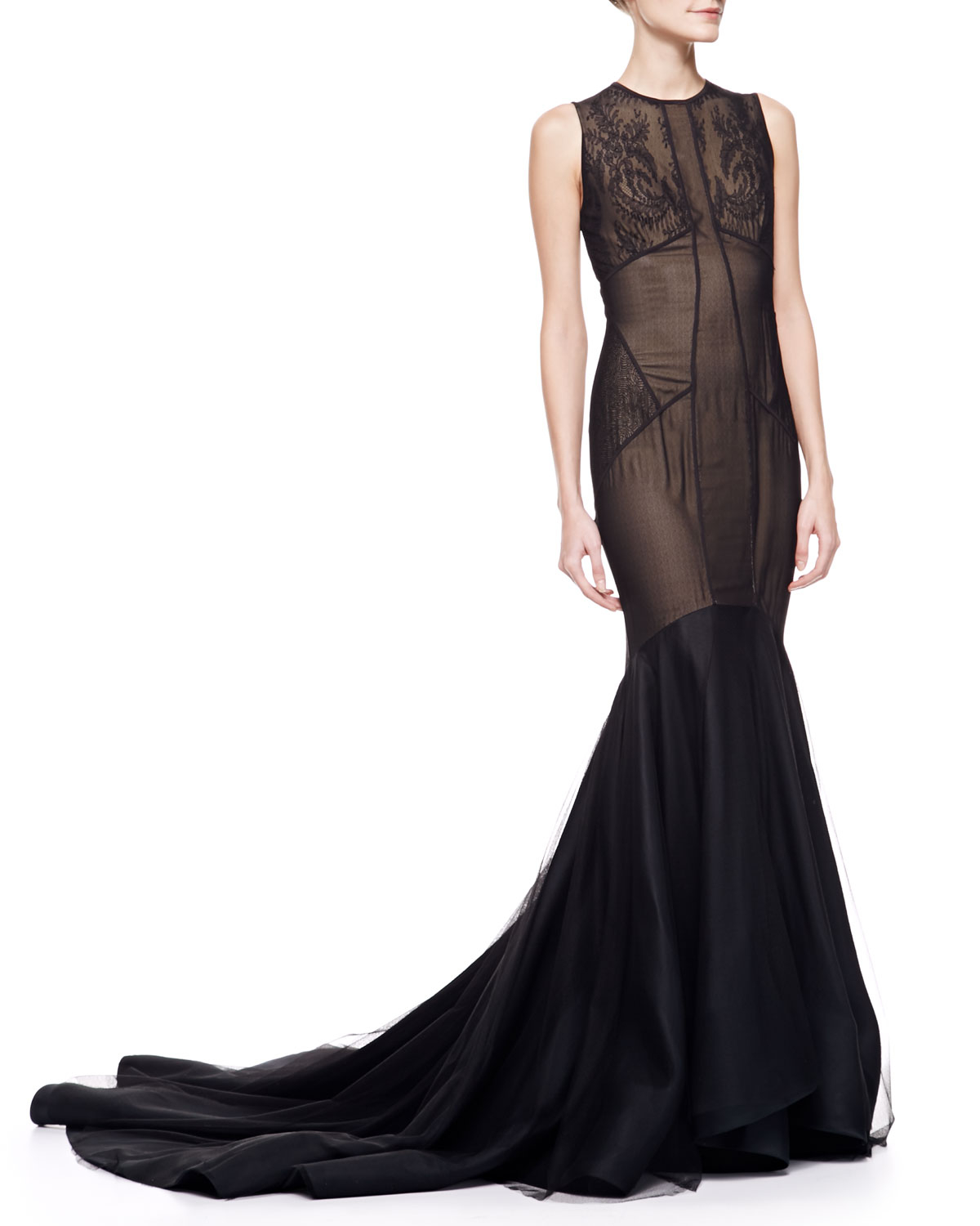 ea579c586 Jason Wu Lace Tulle Trumpet Gown with Train in Black - Lyst