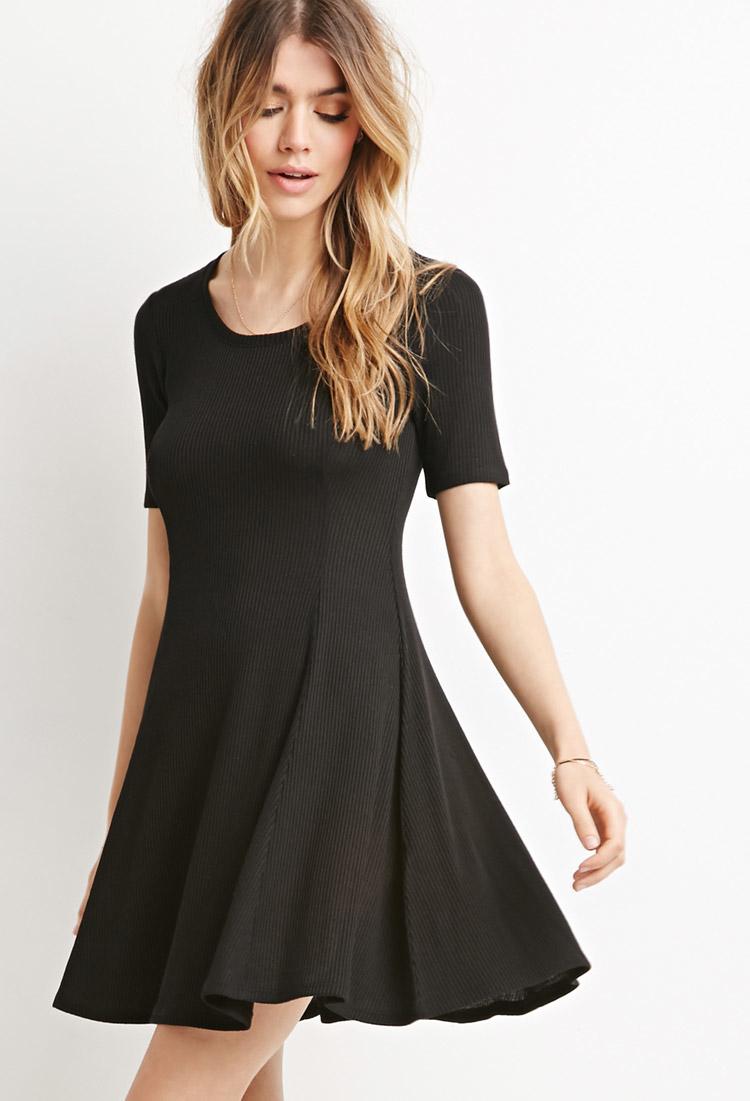 Forever 21 Ribbed Skater Dress in Black | Lyst