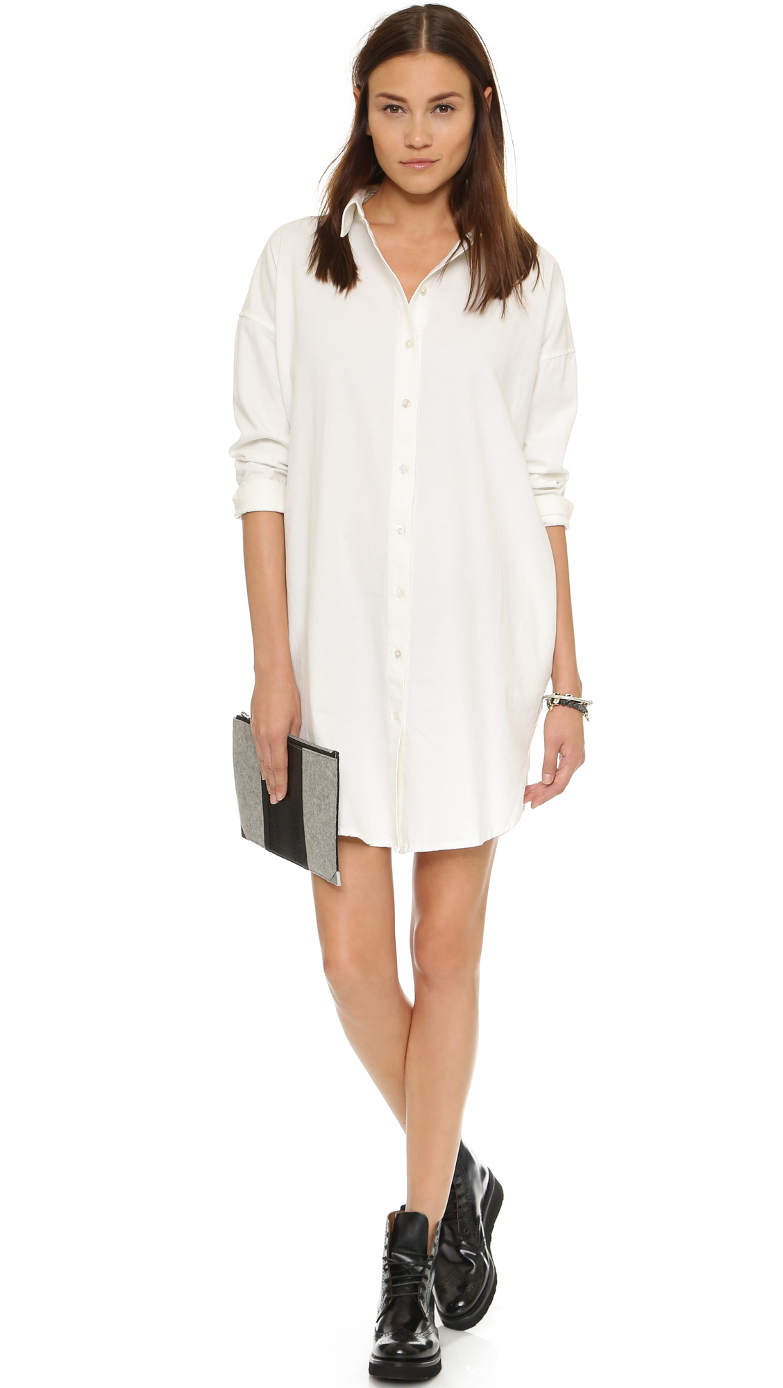 0676698f70c Lyst - Earnest Sewn Kyle Shirtdress - White in White