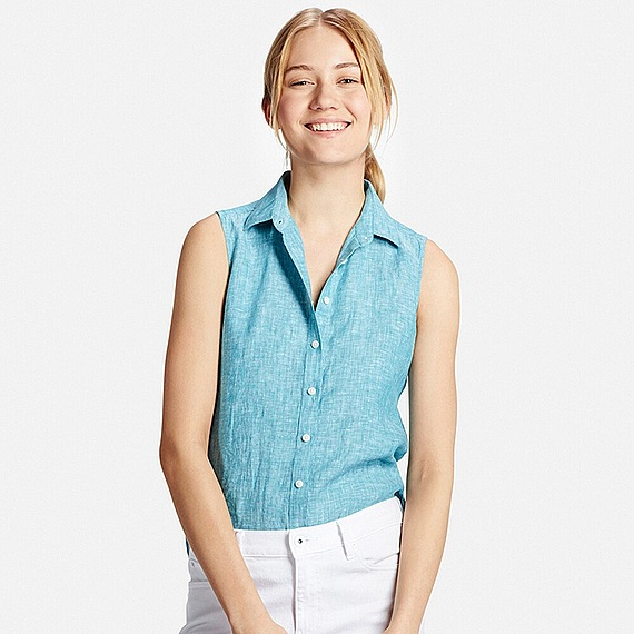 Uniqlo Premium Linen Sleeveless Shirt In Green Lyst