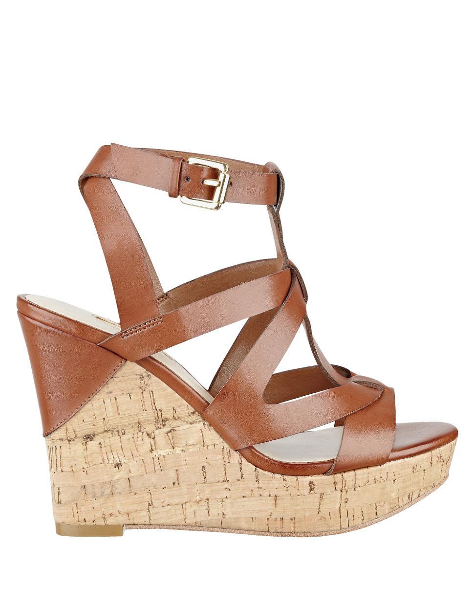 Guess Harlea Platform Wedge Sandals in Metallic