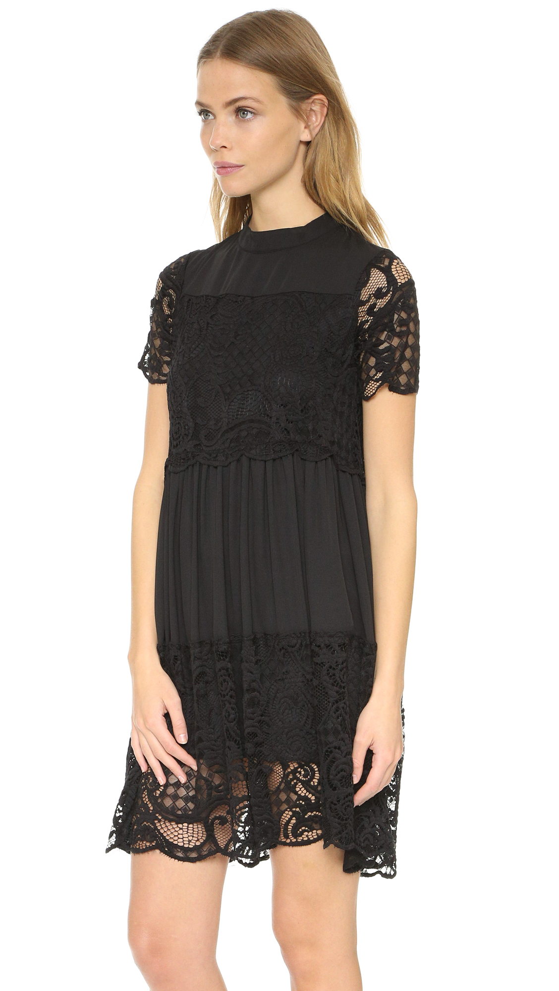 Lyst Kendall Kylie Lace Babydoll Dress In Black