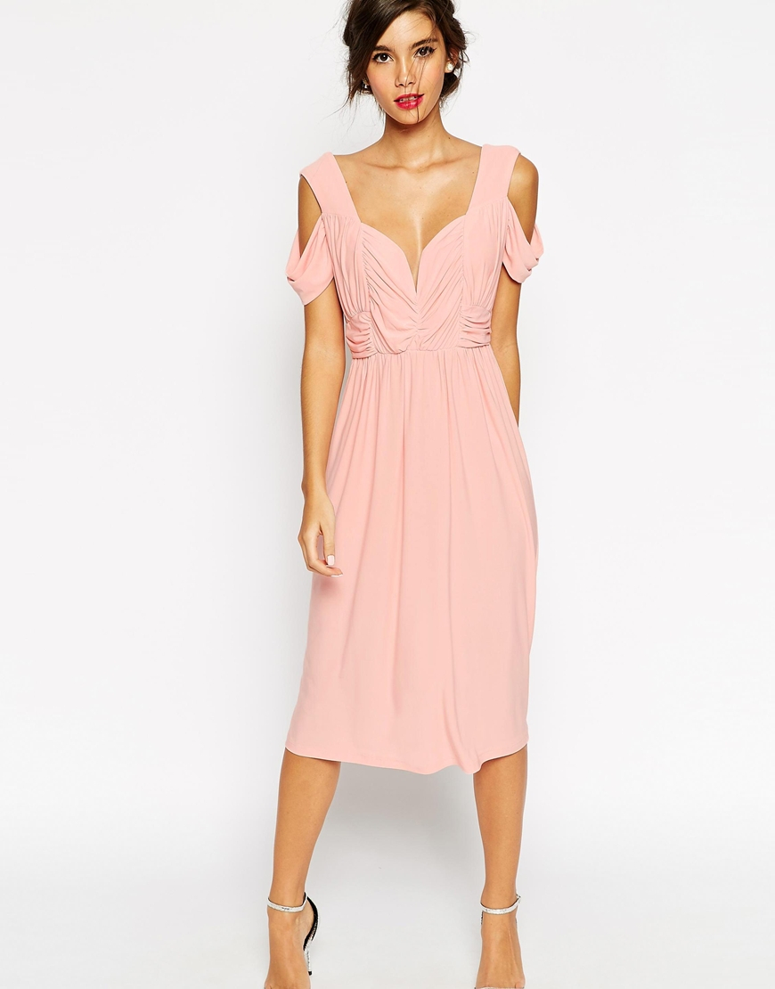 Asos Wedding Cold Shoulder Ruched Midi Dress in Pink - Lyst