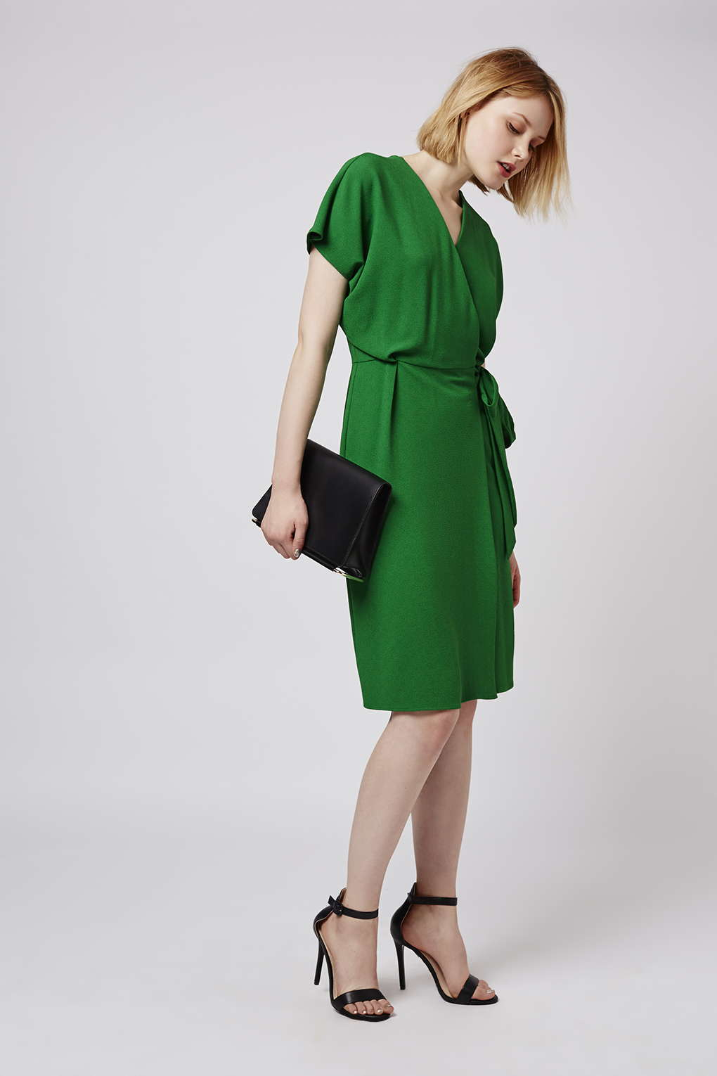 Topshop Wrap Dress in Green | Lyst