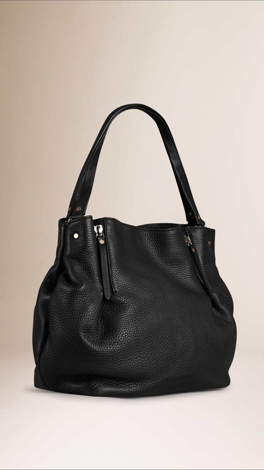 cd60349203e Burberry Medium Zip Detail Leather Tote Bag in Black - Lyst