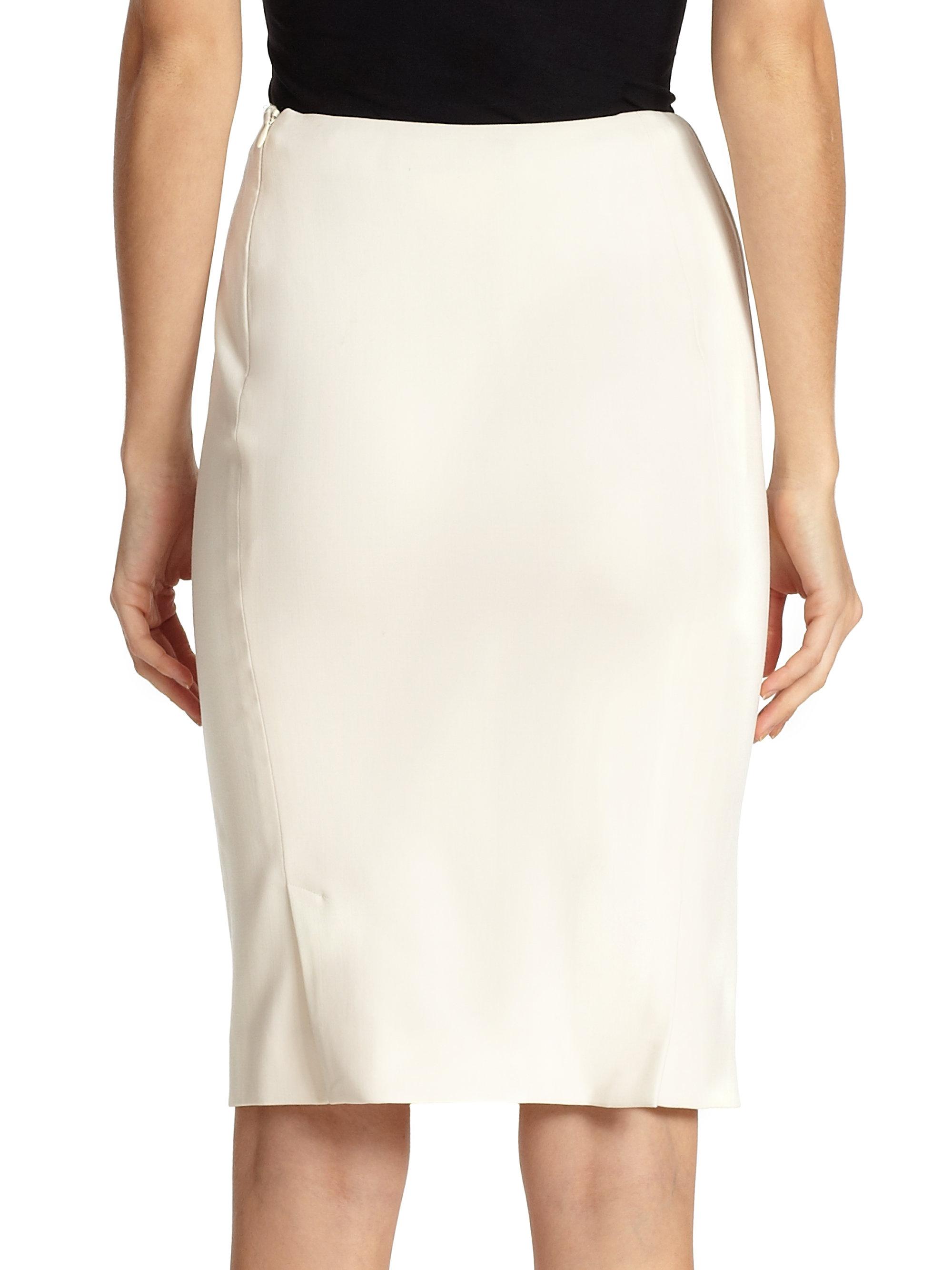 Lyst Ralph Lauren Collection Cindy Silk Pencil Skirt In Natural