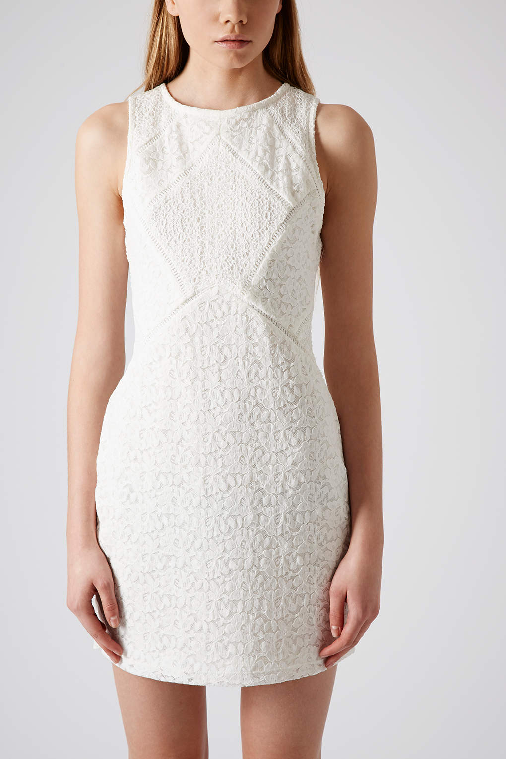 Lyst Topshop Mixed Lace Bodycon Dress In Natural