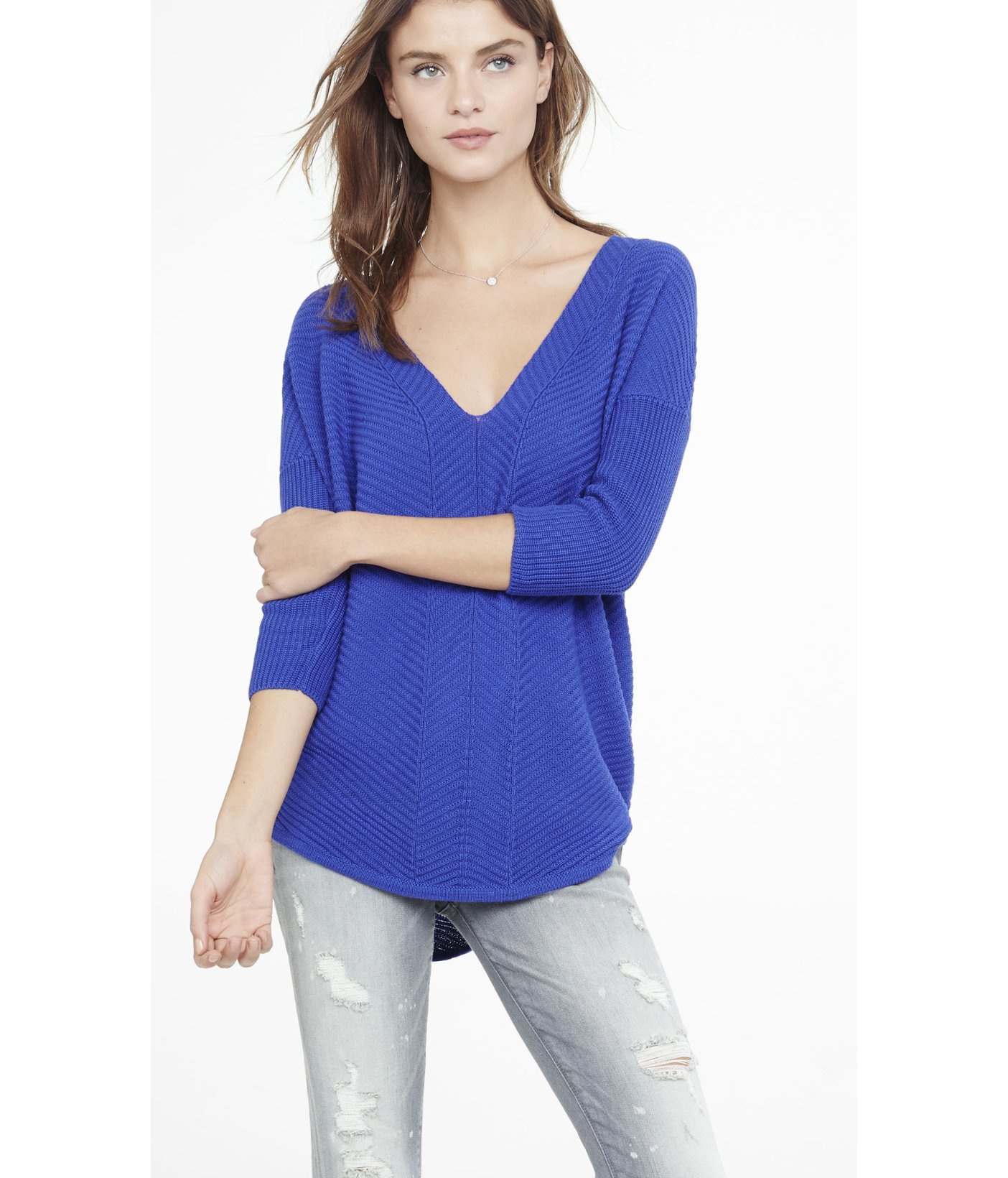 Express Engineered Rib London Tunic Sweater in Blue | Lyst