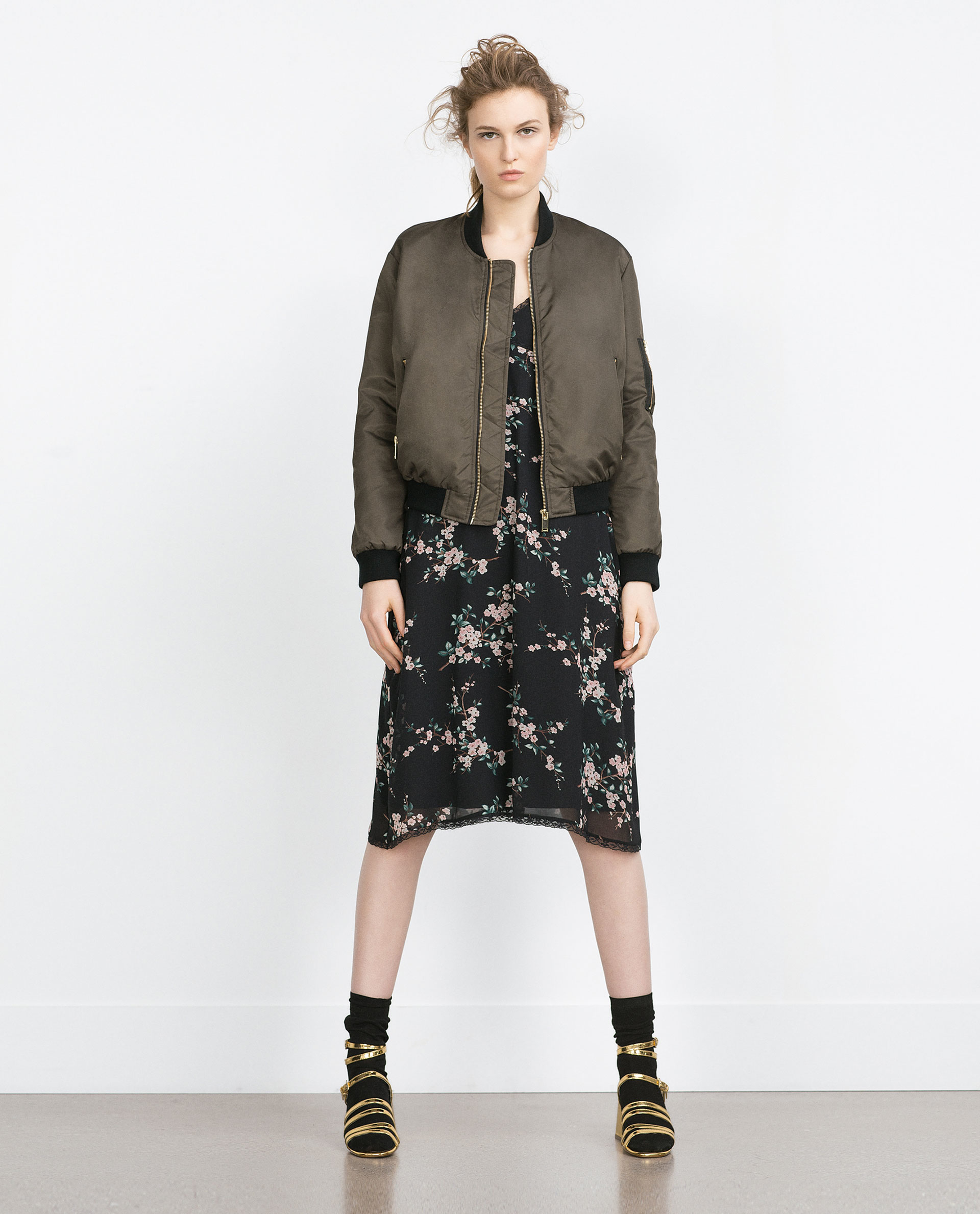 Zara Quilted Bomber Jacket In Natural Lyst