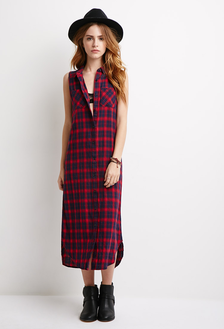 Forever 21 Longline Plaid Shirt Dress In Blue Lyst
