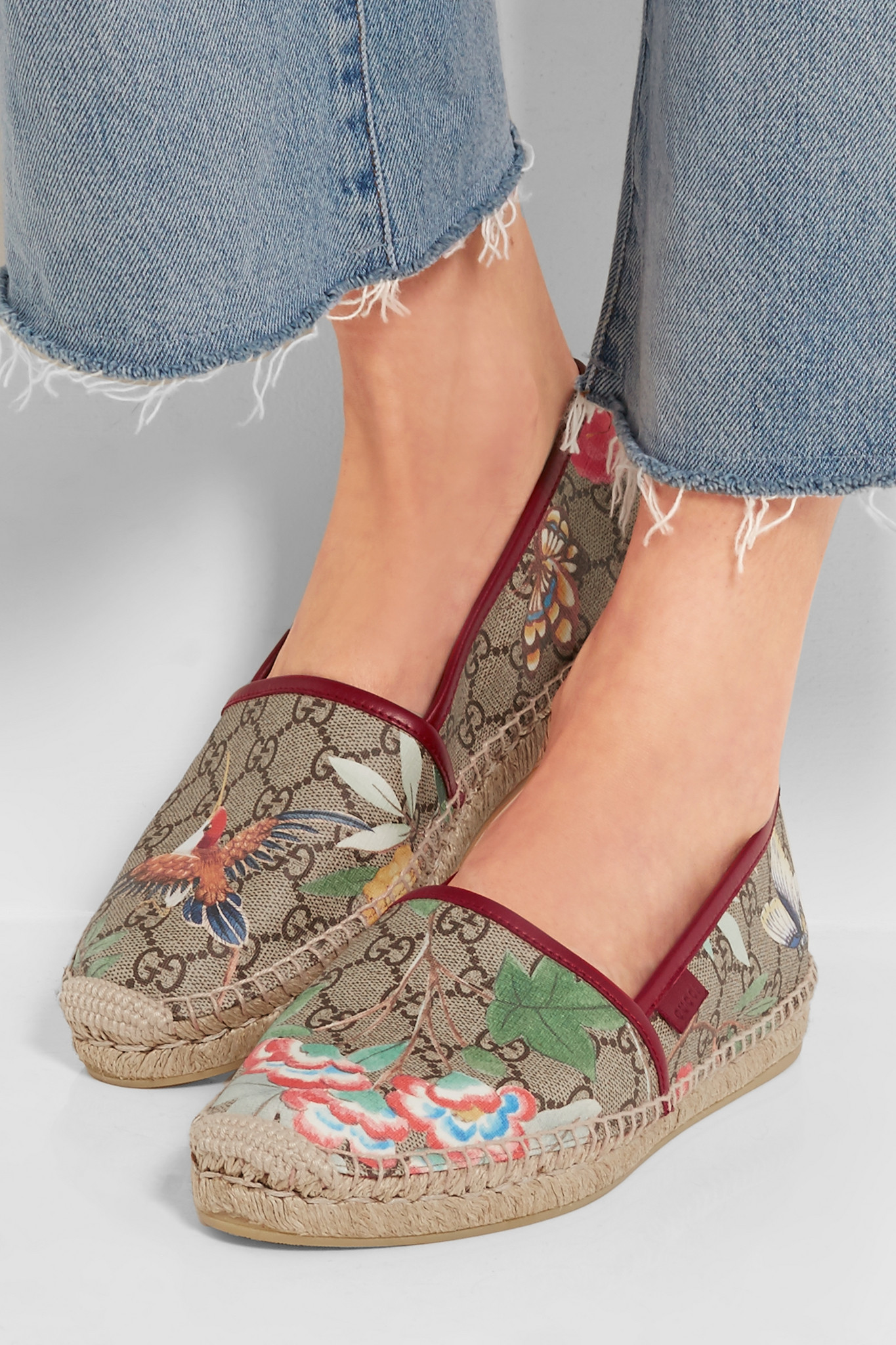 5b876598548 Gucci Tian Leather-trimmed Printed Coated Canvas Espadrilles in Gray ...