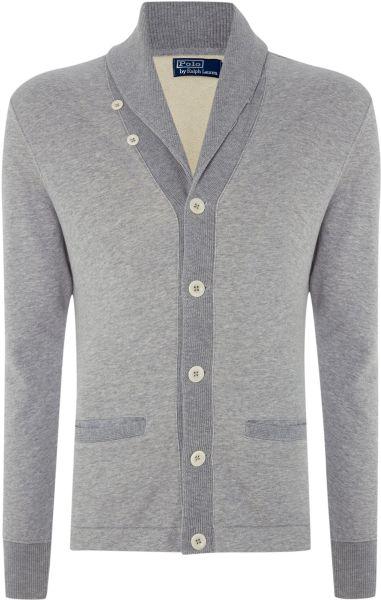 Polo ralph lauren heavy knit shawl collar button down for Heavy button down shirts