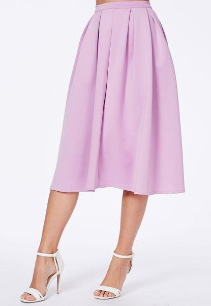 missguided auberta lilac pleated midi skirt in scuba in