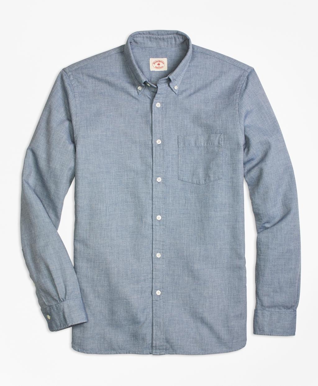 Lyst brooks brothers pique stitch sport shirt in blue for Brooks brothers sports shirts