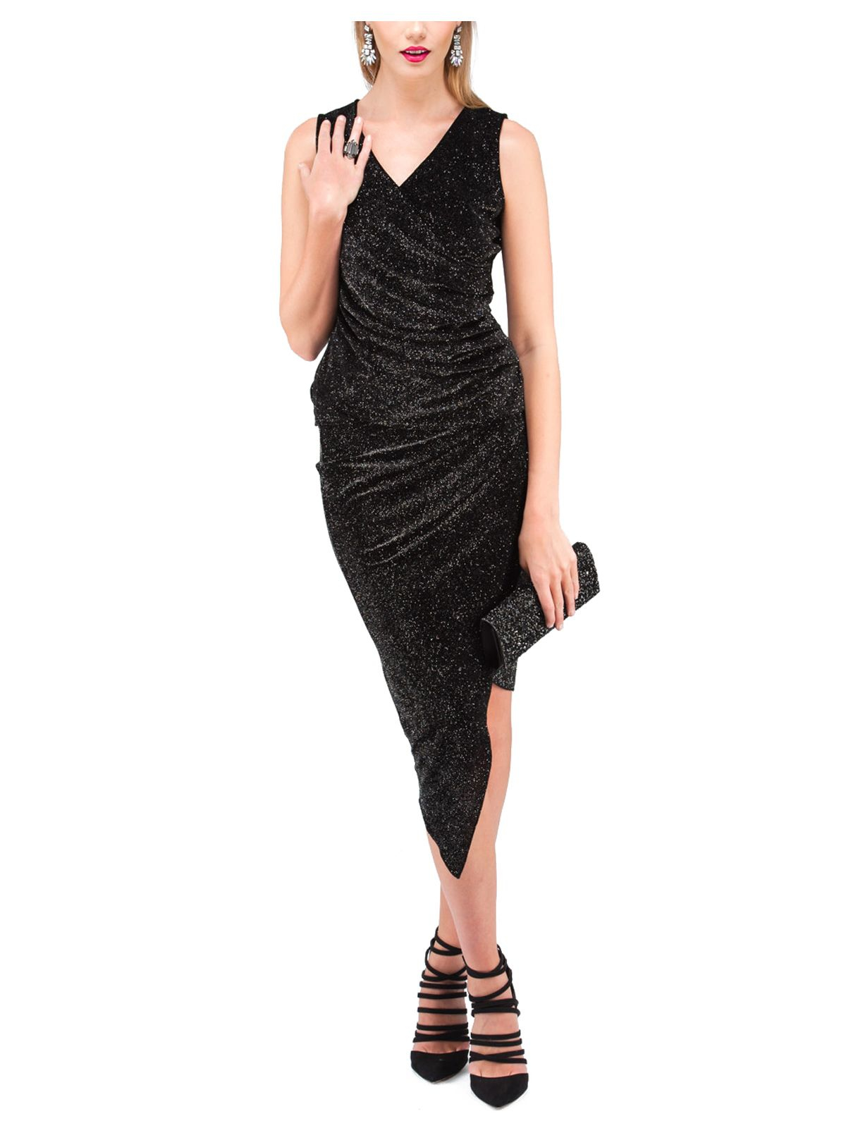 norman black midi sparkle ruched skirt in black lyst