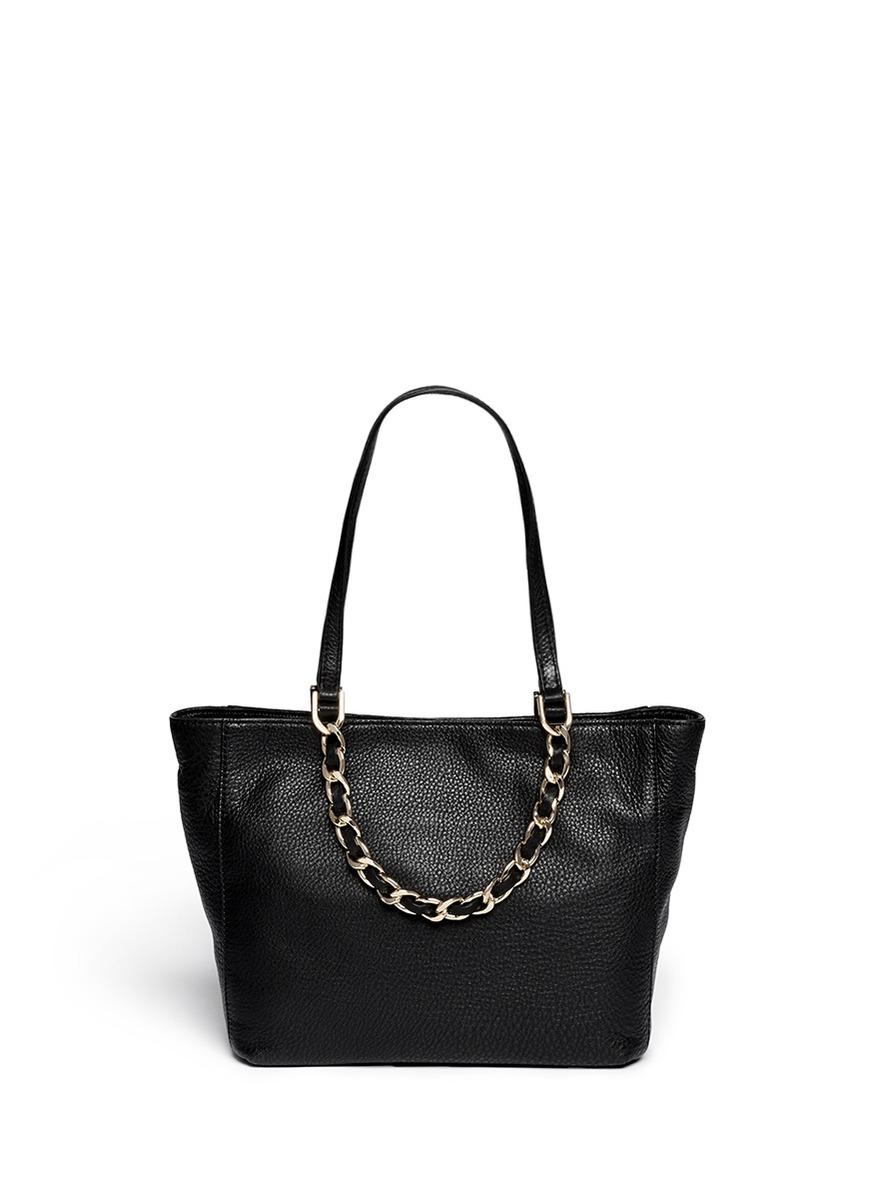 0c15071dc91c ... official store lyst michael kors harper medium chain leather tote in  black 87e16 7536b