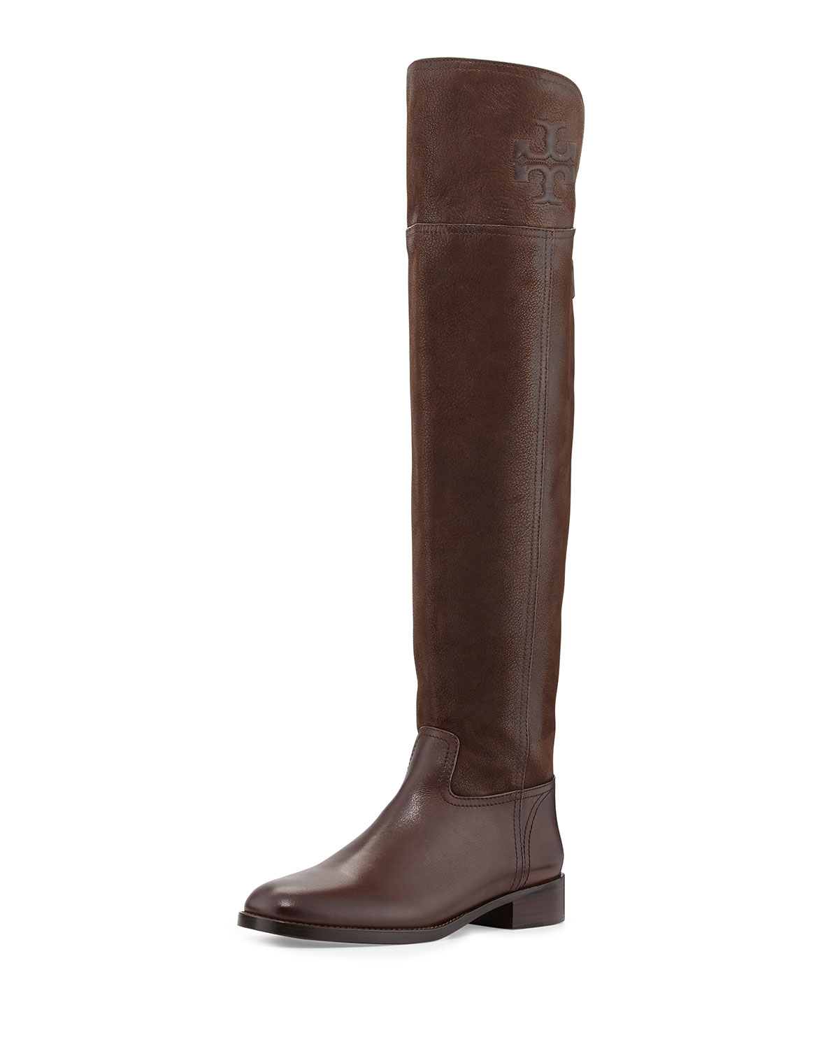 Tory burch Simone Over-The-Knee Logo Boot in Brown | Lyst