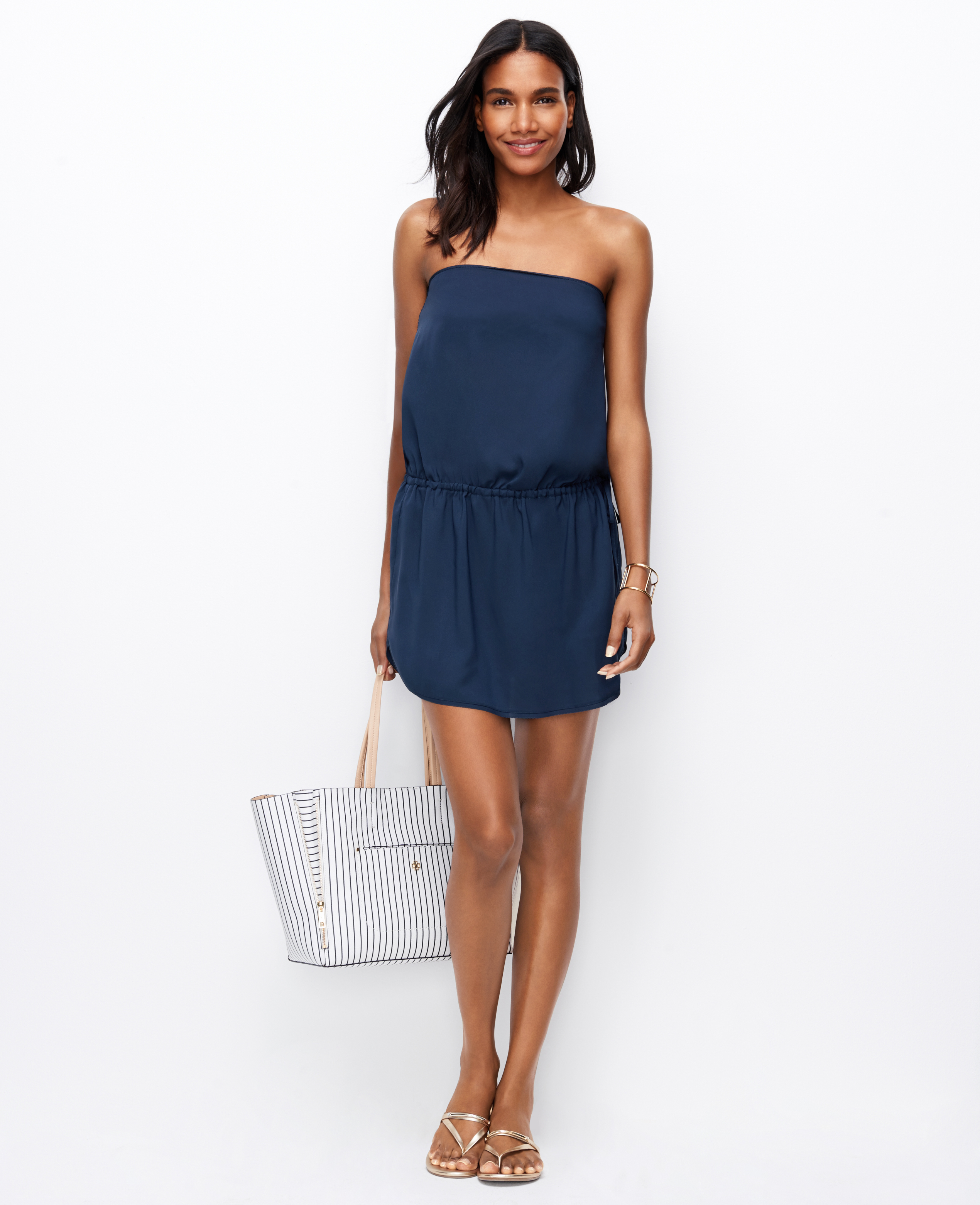 Ann taylor Strapless Swimsuit Cover Up in Blue | Lyst