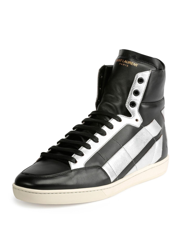 Black Leather Designer High Top Shoes