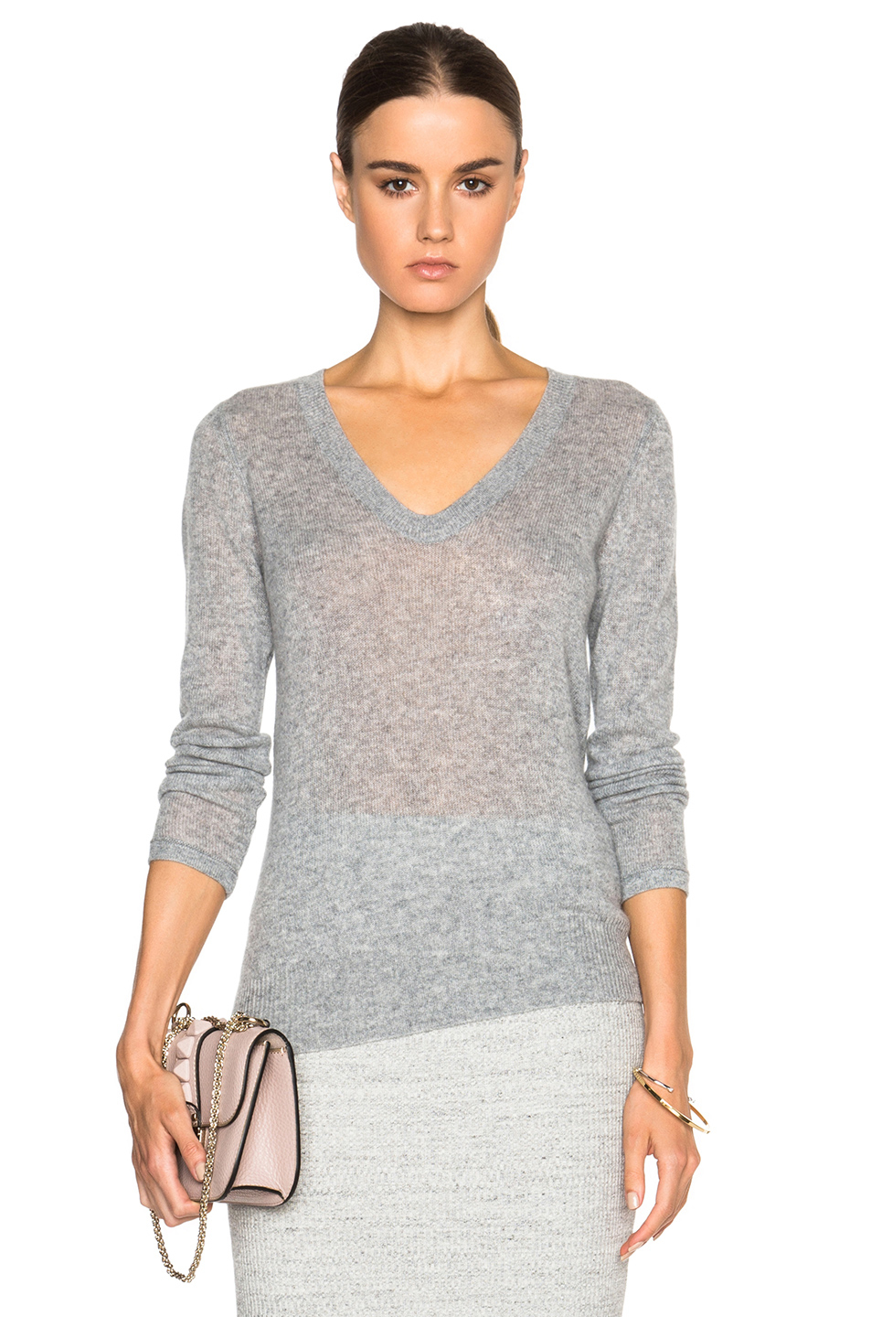 27b6998e63 Lyst - James Perse Cashmere V Neck Sweater in Gray