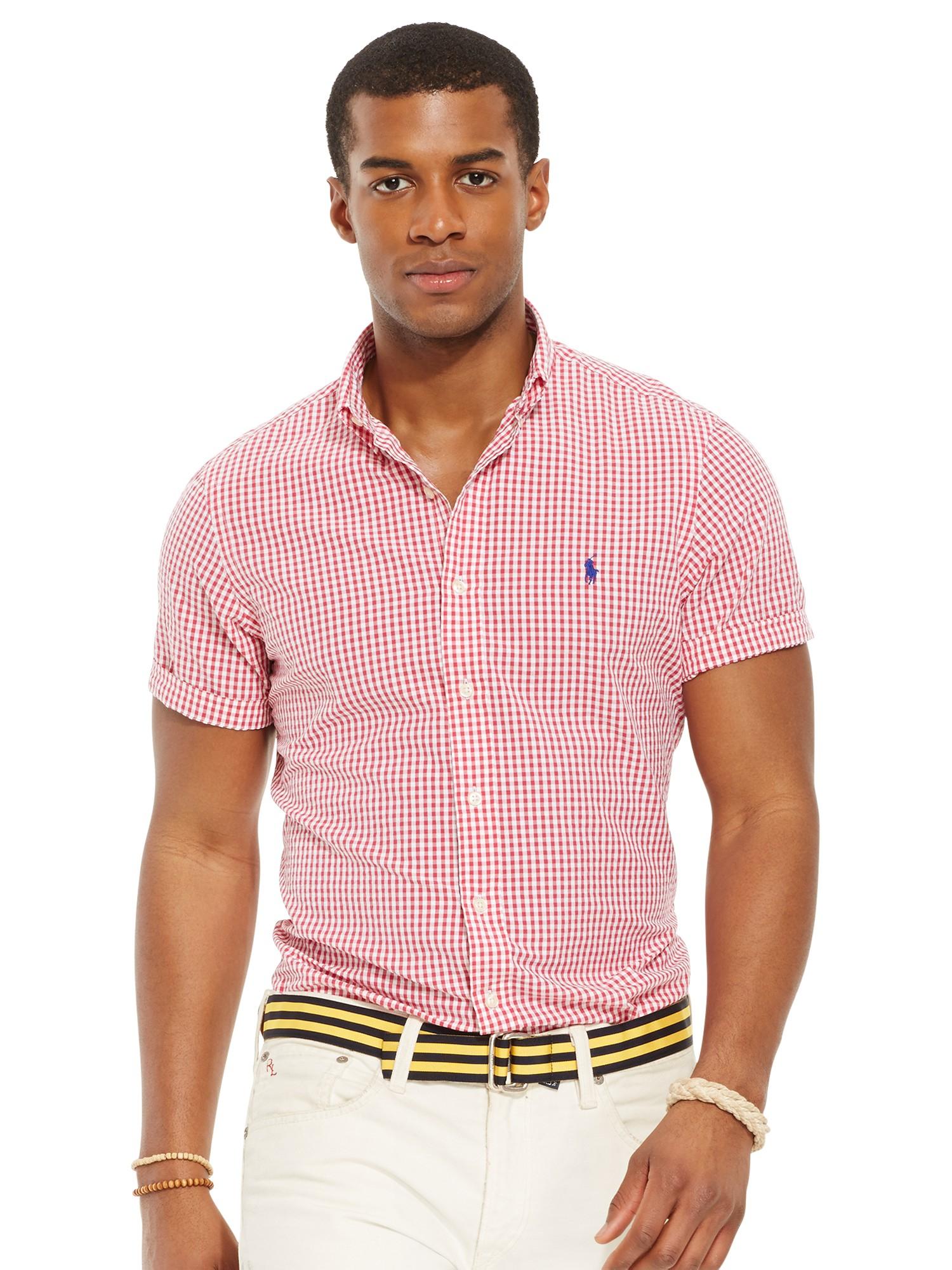 Polo Ralph Lauren Seersucker Gingham Short Sleeve Shirt In