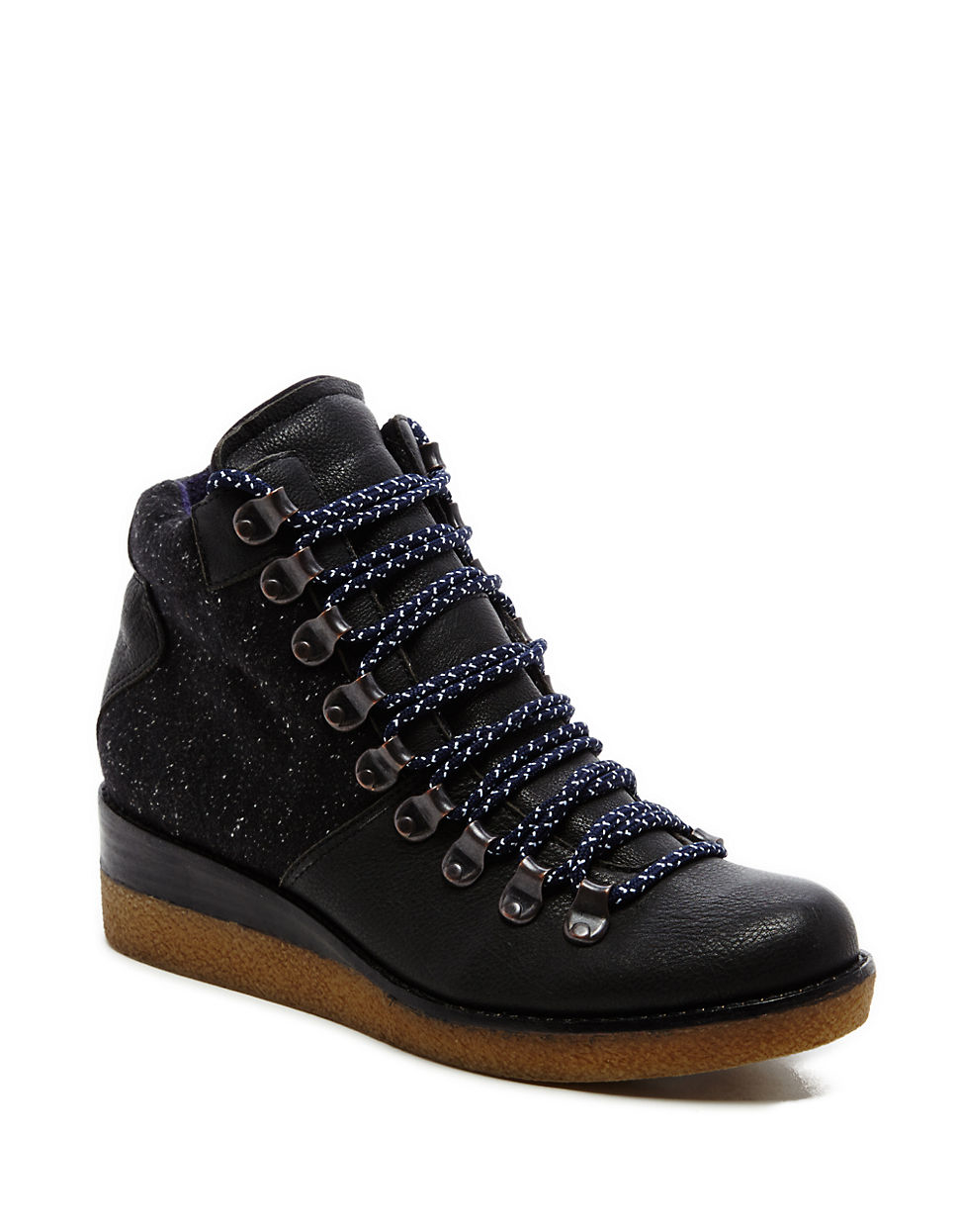 dolce vita sirena leather wedge boots in black lyst