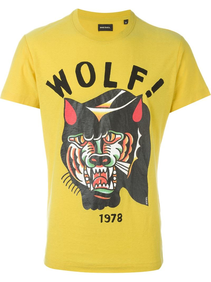 Diesel Front Wolf Print 39 Diego 39 T Shirt In Yellow For Men
