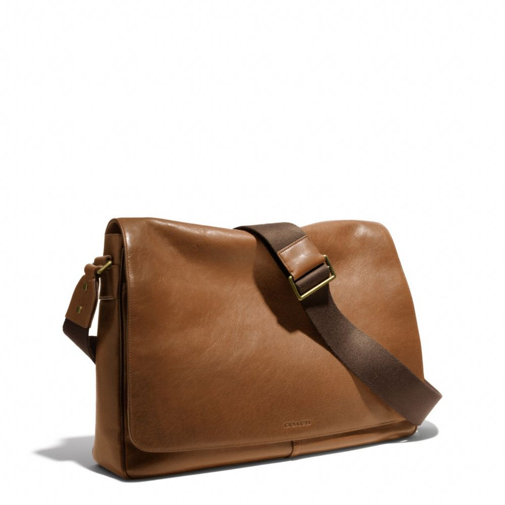 lyst coach bleecker legacy courier bag in leather in