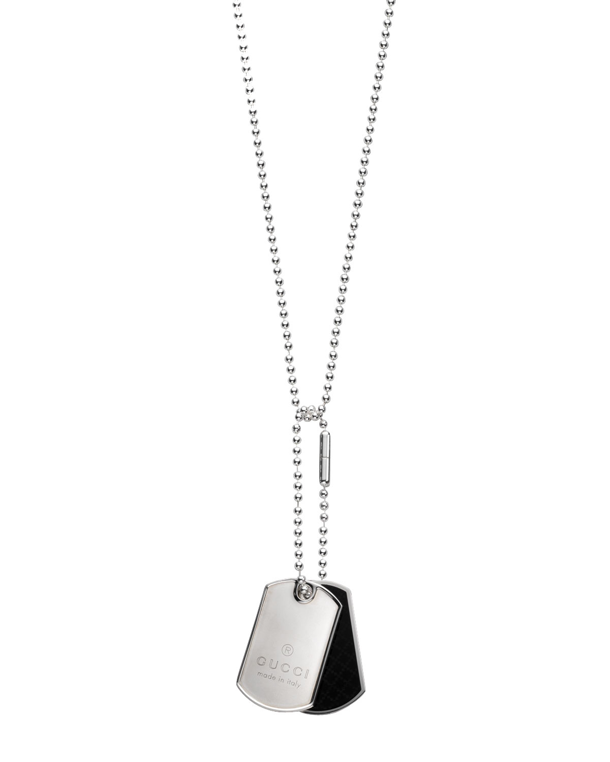 16a14c0f8 Lyst Gucci Dual Diamante Dog Tag Necklace In Metallic For Men