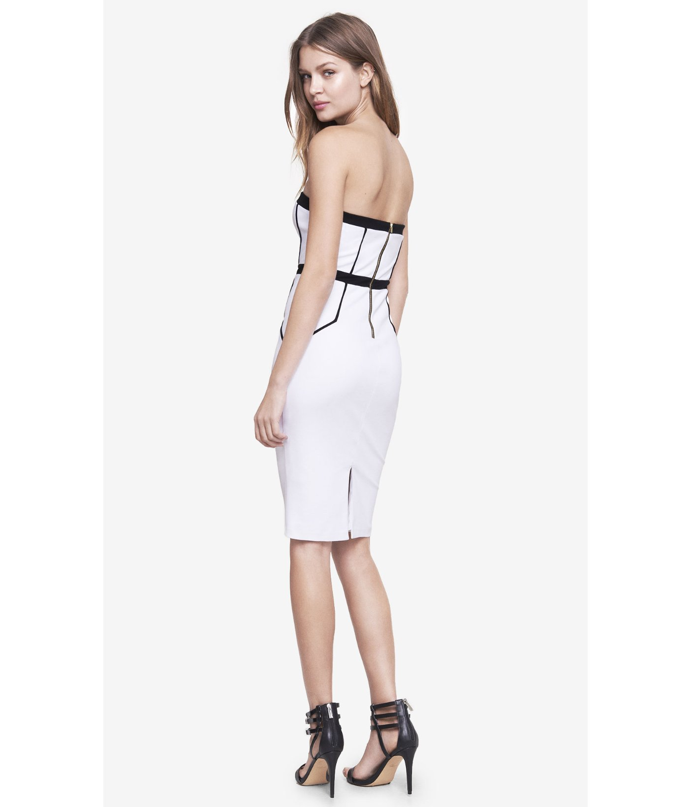 b69f4715cf7 Lyst - Express Tube Dress With Contrast Piping in White