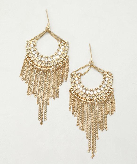 Sparkling Crystal Block Ring Chandelier: Sparkling Sage Gold And Crystal Fringe Chandelier Earrings