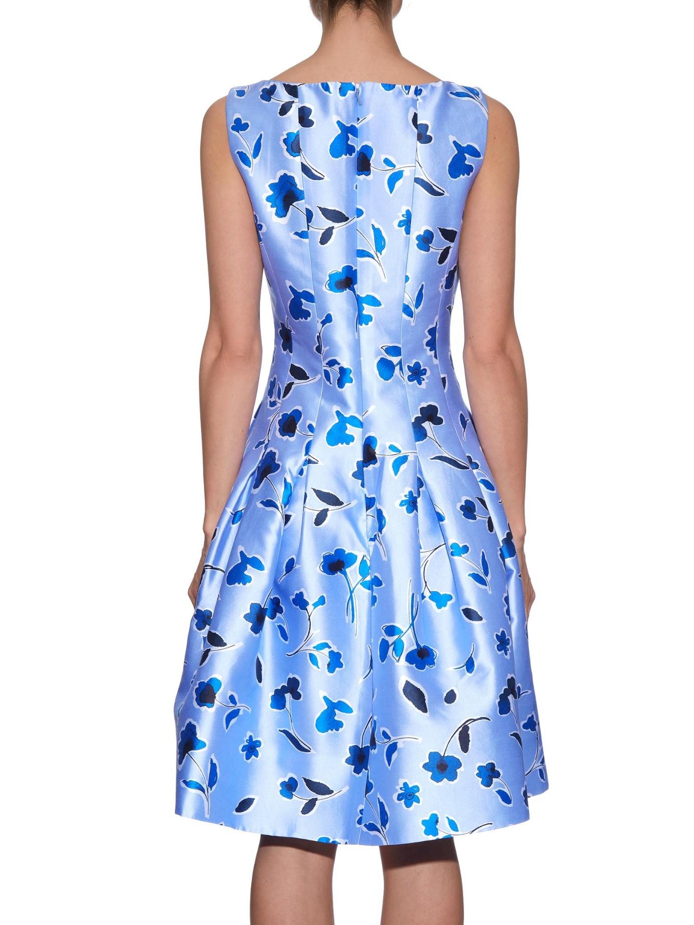 0b692688f6 Oscar de la Renta Pleated Printed Silk And Cotton-blend Dress in ...