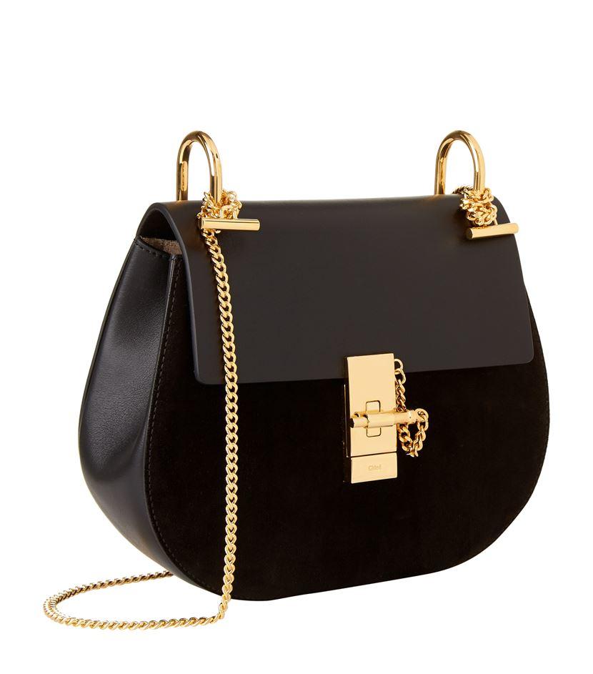chlo small drew leather and suede shoulder bag in black. Black Bedroom Furniture Sets. Home Design Ideas