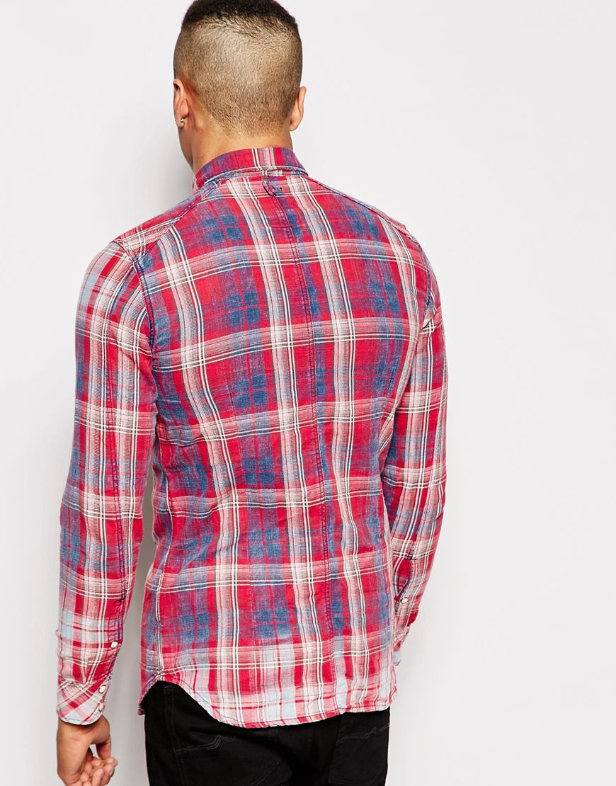 941edc679b1 G-Star RAW Shirt Landoh Indigo Vord Flannel Check Rinsed in Blue for ...