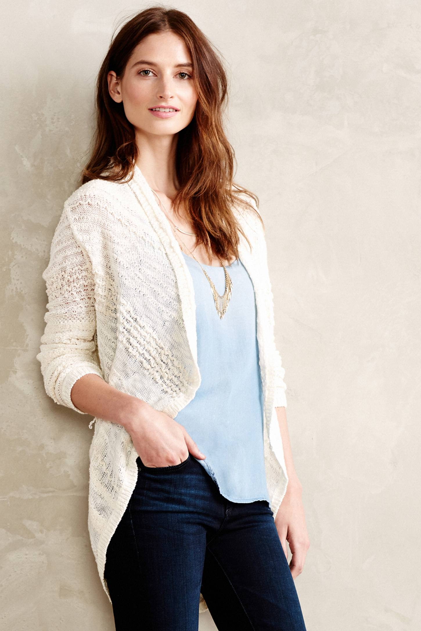 3863a7c1c1229a Knitted   Knotted Switch-Stitch Cardigan in White - Lyst