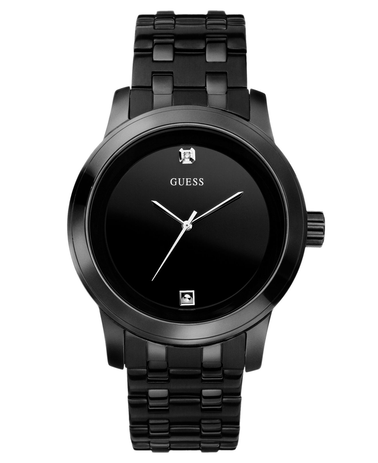 Guess Men's Black Ion Plated Stainless Steel Bracelet 38mm ...