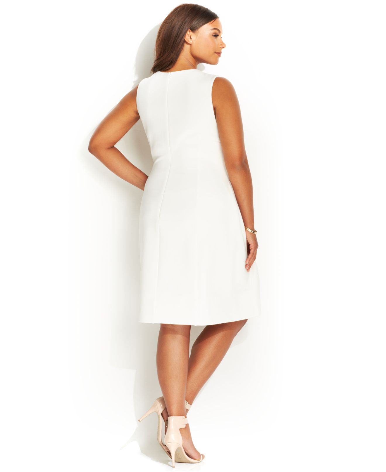 10fa714ad5 Calvin Klein Plus Size Sleeveless Side-Pleat Scuba Dress in White - Lyst