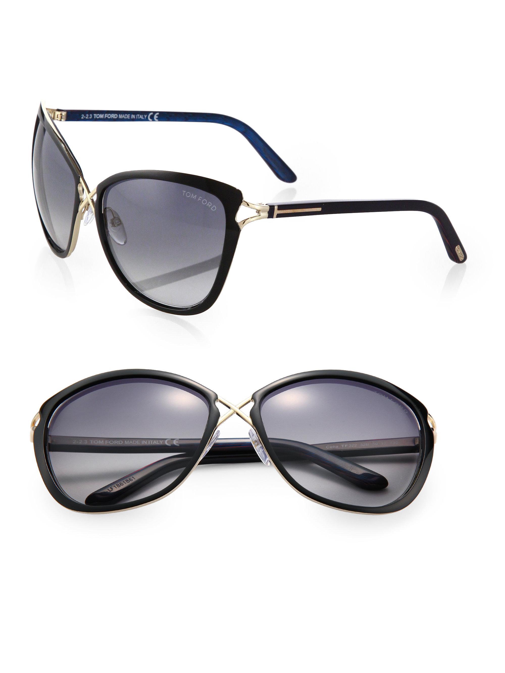 5c41552676ffa Celia Eye Metal Ford In Bridge Lyst Cat s Sunglasses Tom Black UqSxYYP