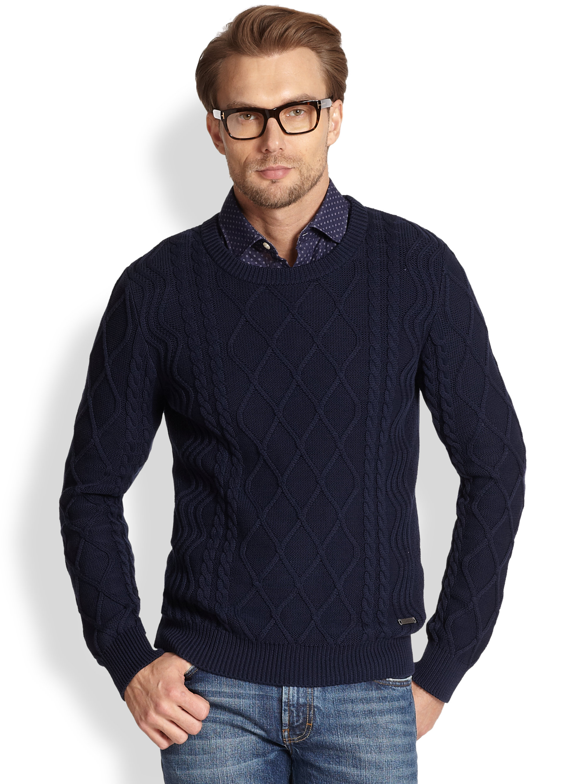 J.lindeberg Benji Sea Cable Knit Sweater in Blue for Men | Lyst