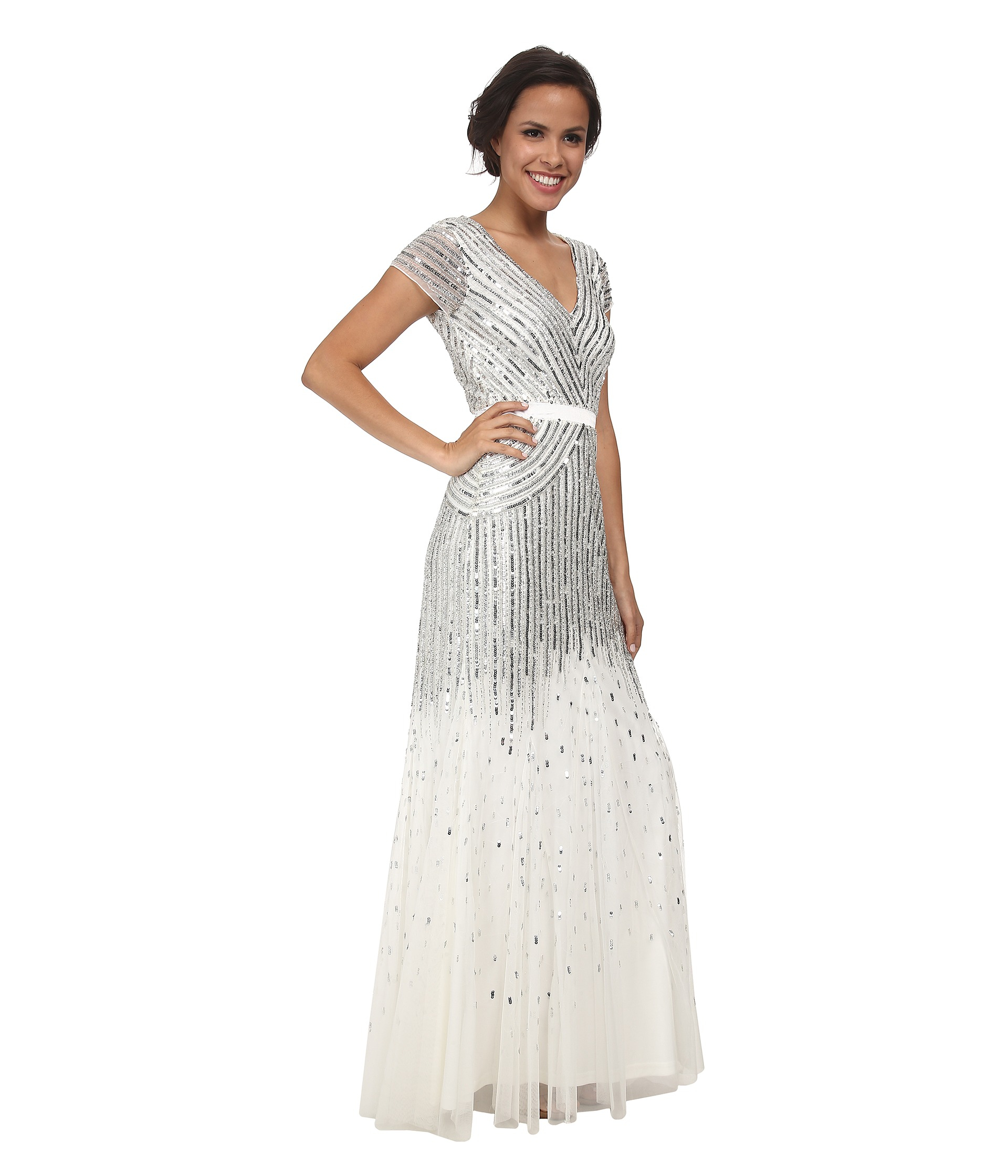 Lyst - Adrianna Papell Cap Sleeve Beaded Gown in Metallic fe78c56dc
