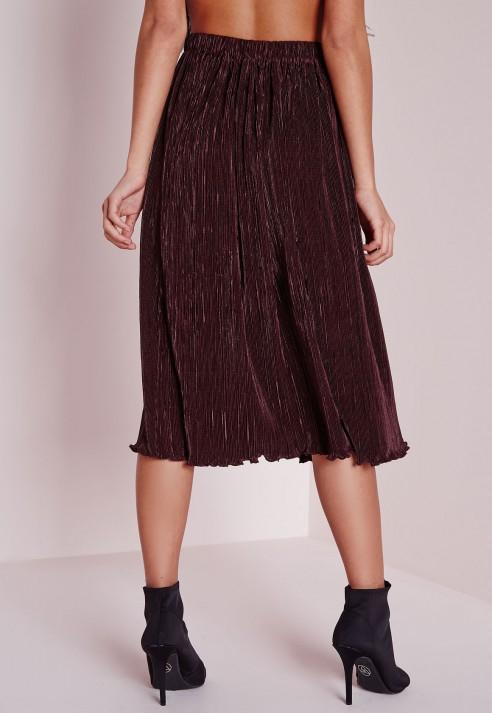 Missguided Micro Pleated Midi Skirt Plum in Purple | Lyst
