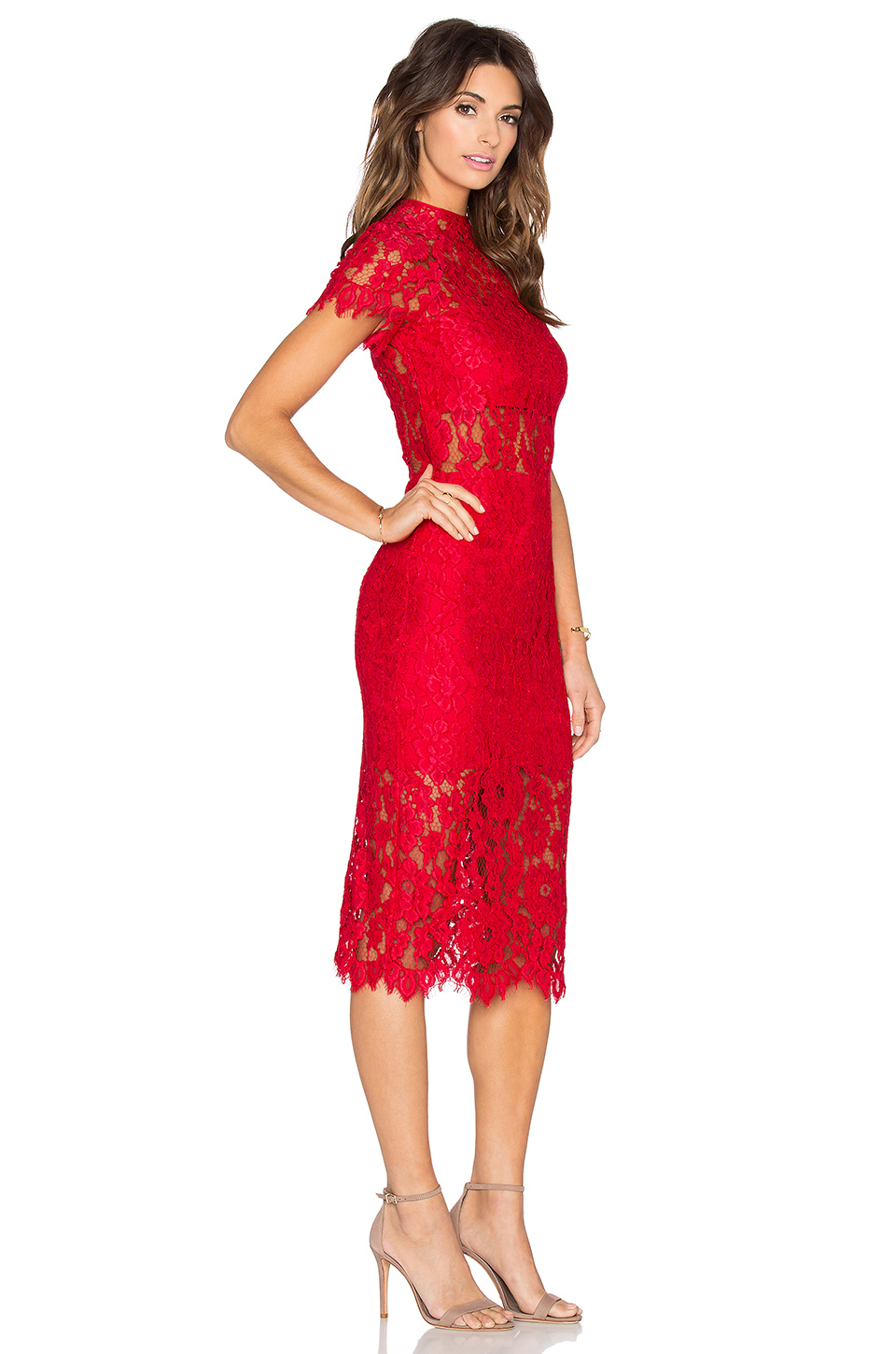 Lyst - Alexis Leona Lace Dress in Red
