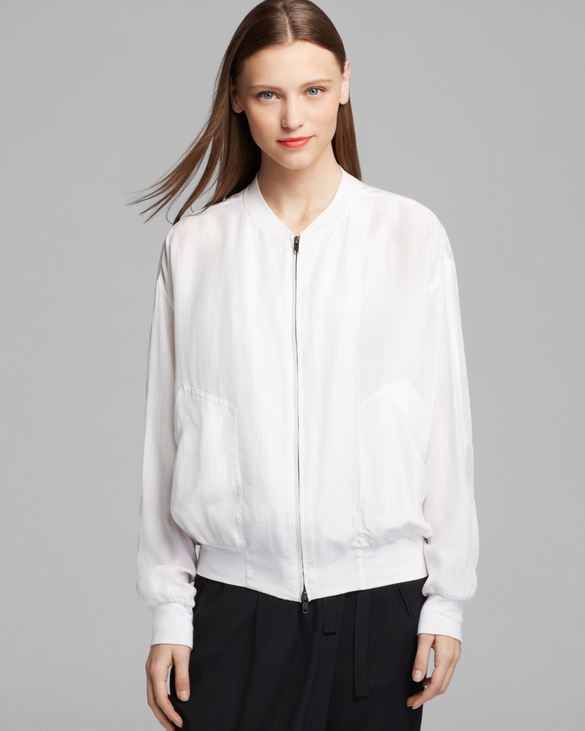 Dkny Pure Zip Front Bomber Jacket In White Lyst