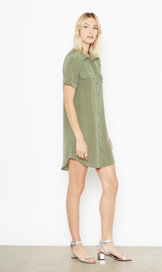 Lyst Equipment Short Sleeve Slim Signature Silk Dress In