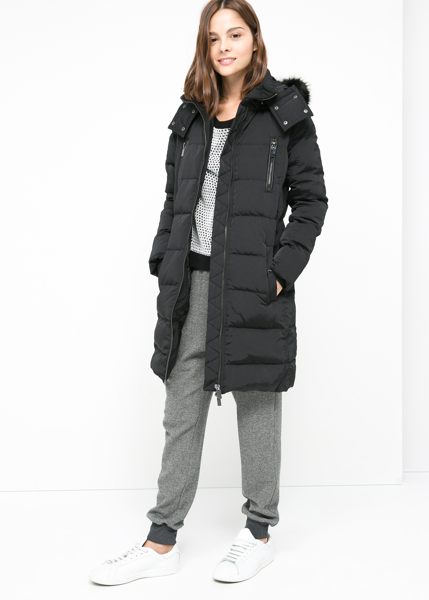 Mango Feather Down Coat in Black | Lyst